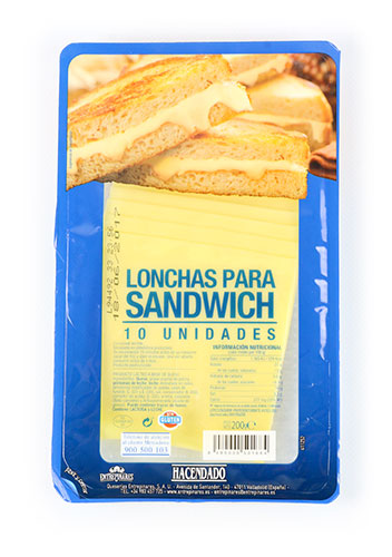 lonchas hacendado preparado a base de queso