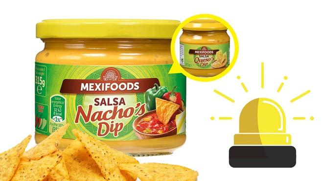 Una salsa mal etiquetada de la marca Mexifoods: dice Ncho's Dip, pero debiera decir Queso's Dip