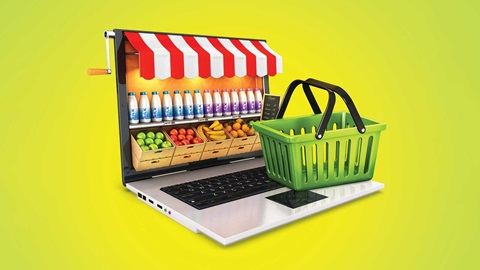 supermercado fruta verdura on line internet ordenador cesta