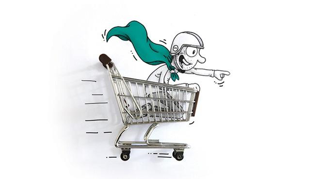 carrito supermercado con superheroe