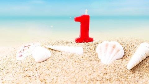 un año playa cremas duración, conchas arena cumpleaños