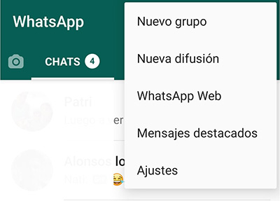 Whatsapp web menu movil