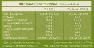 información nutricional etiquetas